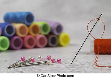 visão close-up, fio, um, agulha, vermelho