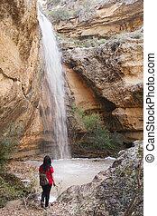 visitante, cachoeira