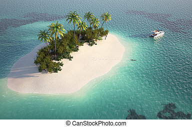 vista, aéreo, ilha paraíso