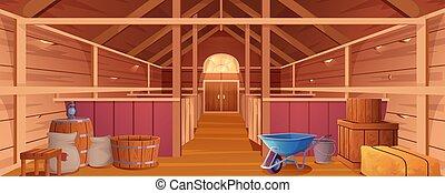 vista, animais, estável, fazenda, ou, celeiro, dentro, interior, cavalo