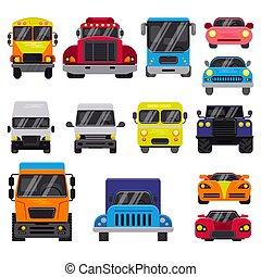 vista, fundo, caminhão, automóvel, ilustração, car, entrega, jogo, citycar, mockup, transporte, veículo, vetorial, automático, branca, carga, offroad, isolado, frente