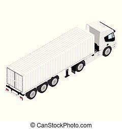 vista, fundo, carga, isometric, isolado, semi, branca, transporte, caminhão reboque