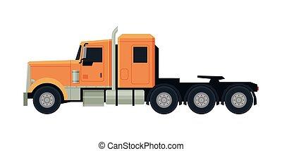 vista, modernos, caminhão, apartamento, laranja, semi, entrega, lado, vetorial, carga, ilustração, branca, veículo, fundo