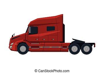 vista, modernos, caminhão, apartamento, semi, entrega, lado, vetorial, carga, ilustração, branco vermelho, veículo, fundo