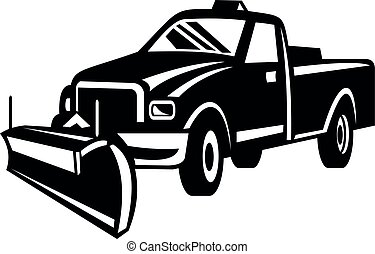 vista, neve, lado, retro, branca, pretas, caminhão, arado, pick-up