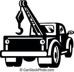 vista, ou, retro, branca, pretas, caminhão, vindima, pick-up, reboque, wrecker, parte traseira