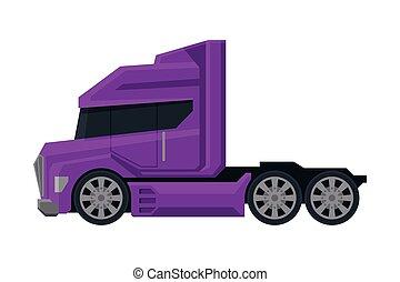 vista, roxo, modernos, caminhão, apartamento, semi, entrega, lado, vetorial, carga, ilustração, branca, veículo, fundo