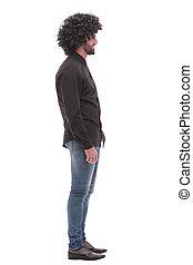 vista., sujeito, branca, isolado, lado, jeans., sorrindo