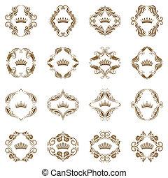 vitoriano, elements., decorativo, coroa