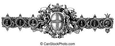 vitoriano, vetorial, ornamento