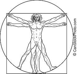 vitruvian, (outline, version), homem