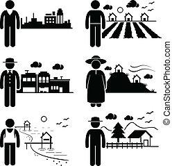 vivendo, diferente, lugares, pessoas