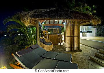 vivendo, estilo, barzinhos, bali, convés preside, cabana, recurso
