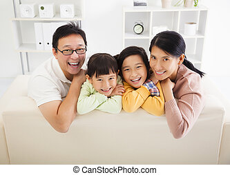 vivendo, feliz, sala, família, asiático