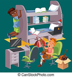 vivendo, poster., sala, coloridos, estudantes, universidade, junto, dormitório, meninos, vetorial, ilustração, dormitório