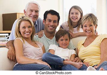 vivendo, sorrindo, estendido, sala, família