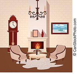 vivendo, vetorial, sala, vindima, ilustração, lustre, interior., interior, lar, fireplace.