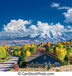 vizinhança, outono, colorado, residencial
