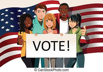 votando, pessoas