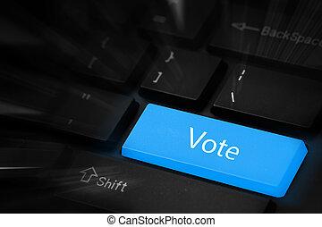 voto, azul, botão, teclado