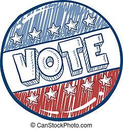 voto, botão, esboço, campanha