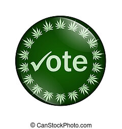 voto, botão, legalize, marijuana