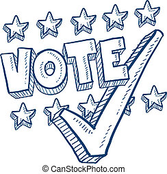 voto, confira mark, esboço