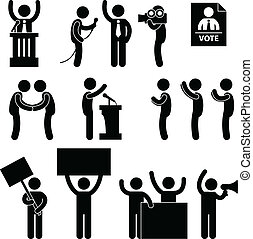 voto, político, eleição, repórter