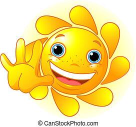 waiving, cute, olá, sol