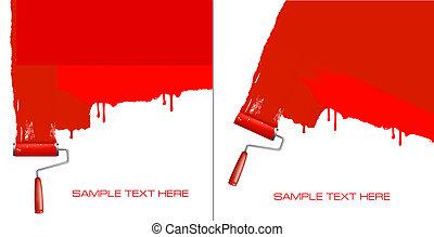 wall., quadro, rolo, branco vermelho