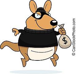 wallaby, assaltante, caricatura