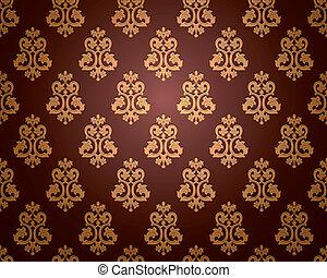 wallpaper., vetorial, seamless, damasco