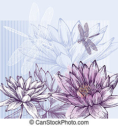 wat, florescer, fundo, floral