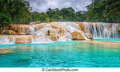 waterfalls., de, méxico, azul., cascadas, azul, agua, yucatan.