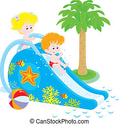 waterslide, crianças