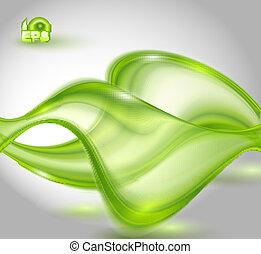 waving, abstratos, experiência verde