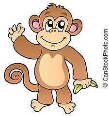 waving, caricatura, macaco, banana
