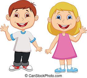 waving, menino, menina, caricatura, mão