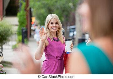 waving, mulheres, outro, cada
