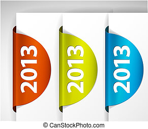 (web), etiquetas, /, borda, vetorial, adesivos, redondo, 2013, página