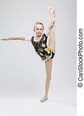 white., atleta, profissional, posar, enquanto, femininas, rítmico, competitivo, divisão, vertical, contra, estúdio, exercício, caucasiano, ginasta, paleto