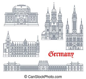 wiesbaden, alemão, alemanha, marcos, arquitetura