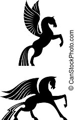 winged, cavalos, pretas, dois