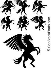 winged, criar, pegasus, pretas, cavalos
