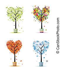 winter., arte, primavera, -, potes, árvores, quatro, desenho, outono, estações, seu, verão