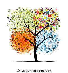 winter., bonito, arte, primavera, outono, -, árvore, quatro, desenho, estações, seu, verão
