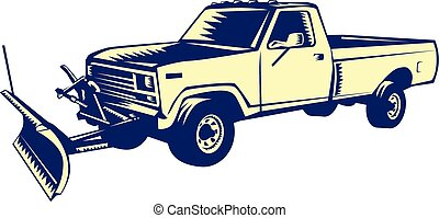 woodcut, caminhão, arado, neve