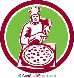 woodcut, casca, segurando, círculo, fabricante, pizza