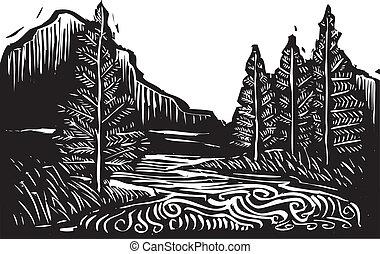 woodcut, paisagem