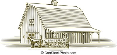 woodcut, trabalhando, agricultor